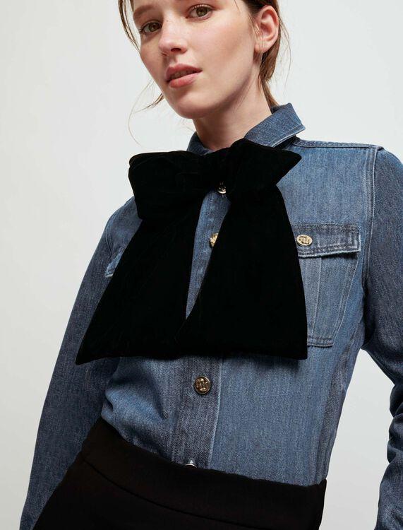 Denim shirt with velvet bow - Shirts - MAJE