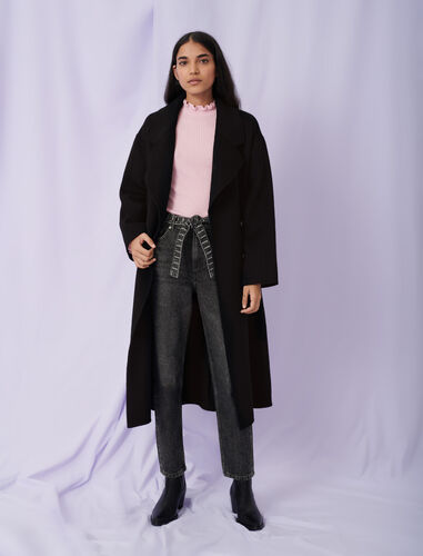 Belted double face coat : Coats & Jackets color Black