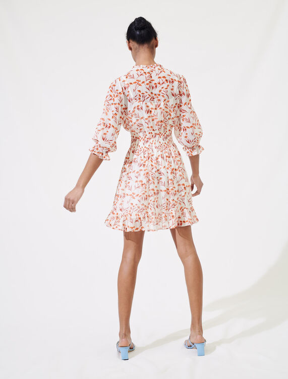 Printed smocked dress : Dresses color Terracota