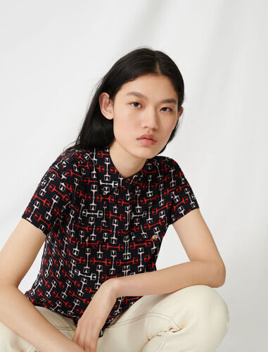 Printed short-sleeved shirt : Shirts color Black/Red