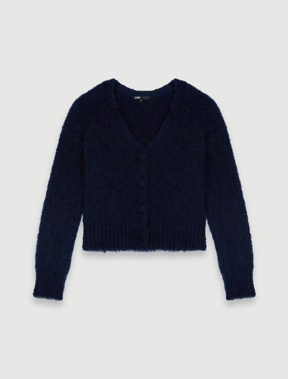 Mohair cardigan with covered buttons - Cardigans - MAJE