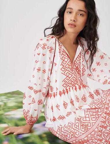 刺绣短款连衣裙 : 连衣裙 顏色 红色/RED