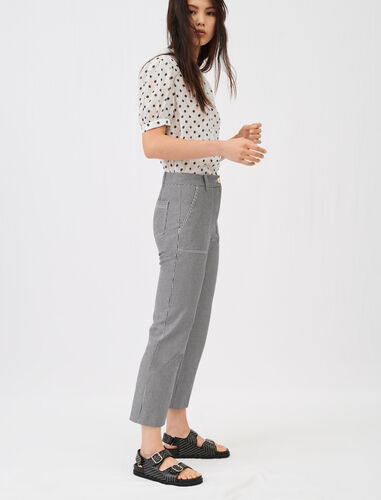 Topstitched Oshkosh stripe trousers : Trousers color Navy / Ecru