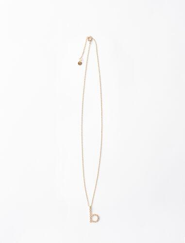 Rhinestone B necklace : Jewelry color Gold