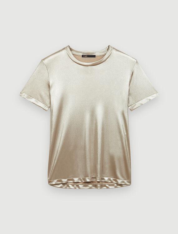 Bi-material lamé T-shirt with ruffles - T-Shirts - MAJE