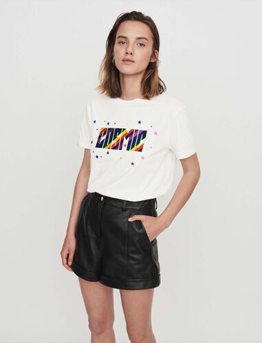 Cuffed shorts with topstitching : Shorts color Black