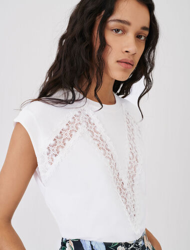 T-shirt with lace trims : T-Shirts color White