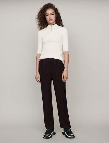 Flowing satin jacquard pants : Trousers color Black