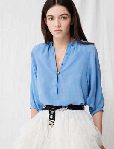 Buttoned blouse with shirring : Shirts color Light Blue