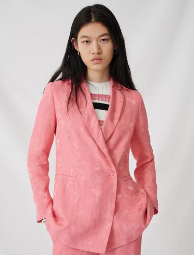Satiny jacquard double-breasted jacket : Coats & Jackets color Pink