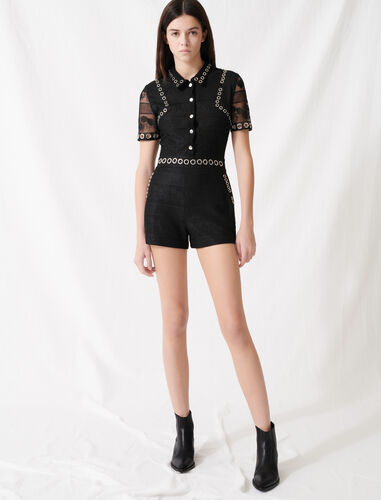 Playsuit with lace and eyelets : Jumpshort & Jumpsuits color Black
