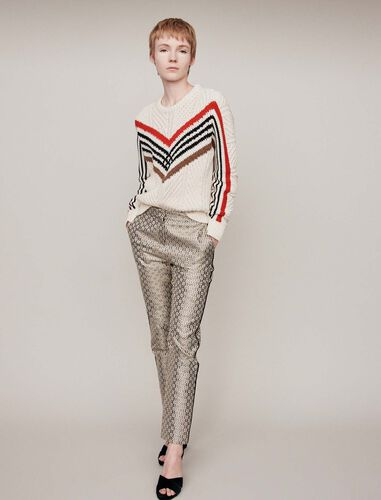 Twisted sweater with graphic motifs : Sweaters color Ecru