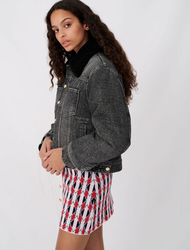 Denim and fur-effect jacket : Coats & Jackets color Anthracite