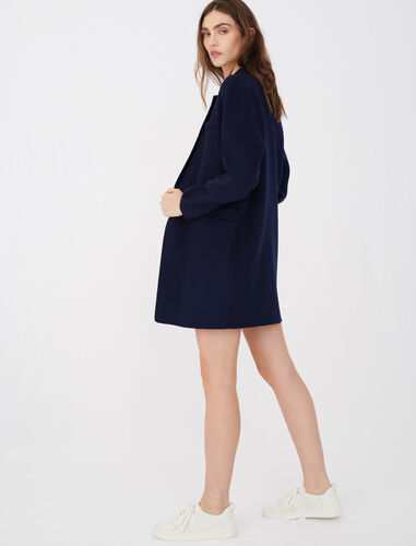 Blazer-style double face coat : Coats & Jackets color Navy