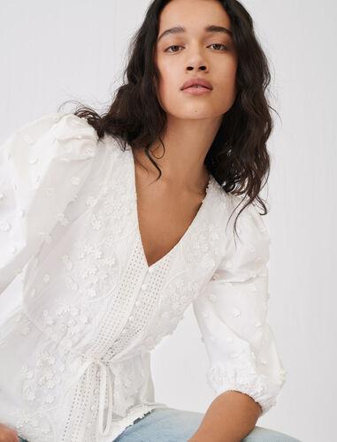 小花刺绣上衣 : 上衣 顏色 白色/WHITE