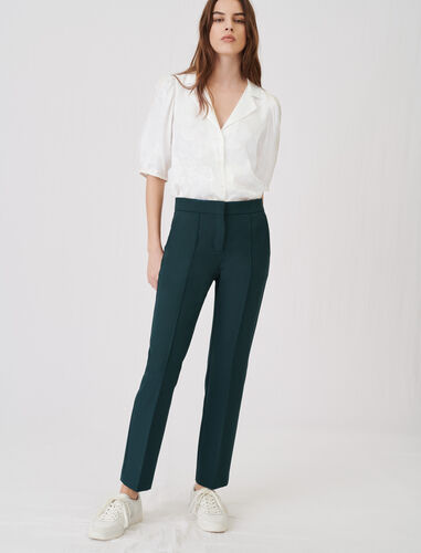 Straight-cut suit trousers : Trousers color Dark green