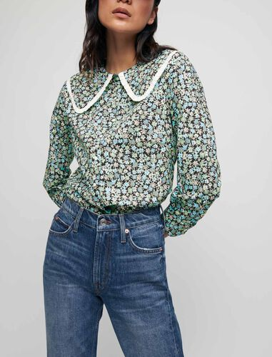 Printed cotton shirt with large collar : Shirts color Blue Flowers