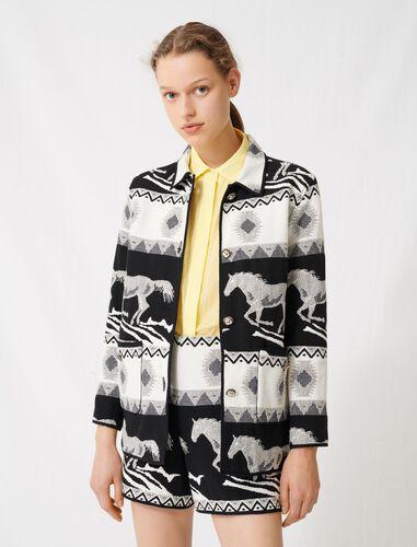 Reversible jacquard coat : Coats & Jackets color Black / White
