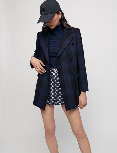 Checked jacket-style coat : Coats & Jackets color Navy