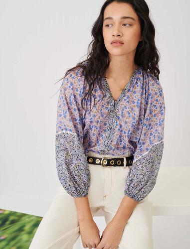 V领印花衬衫 : null 顏色 蓝色/BLUE