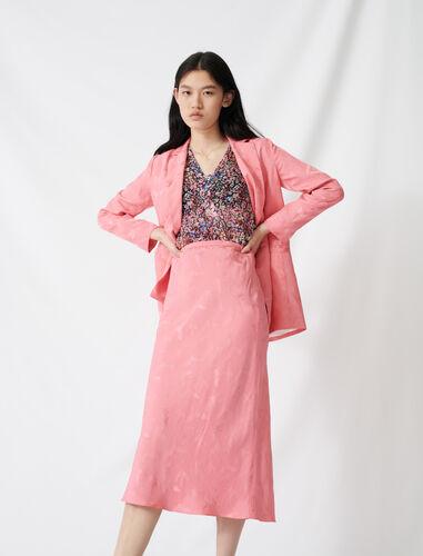 Satiny jacquard maxi skirt : Skirts color Pink