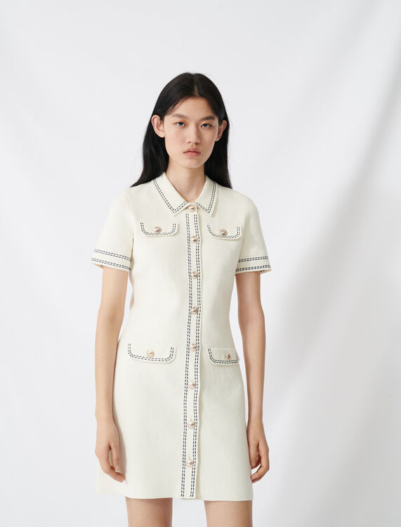 Knit dress with contrasting topstitching : Dresses color Ecru