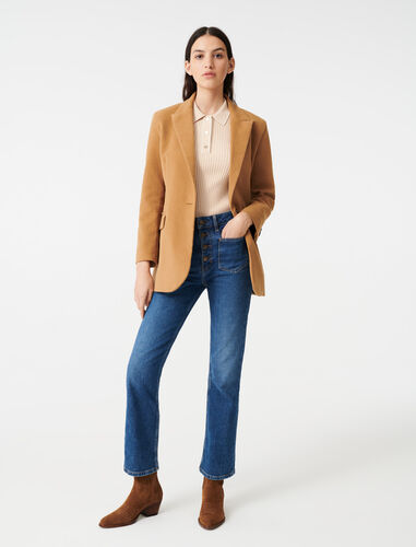 Velvet-style jacket : Coats & Jackets color Camel
