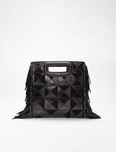 皮革绒面拼布包 : M Bag 顏色 黑色/BLACK