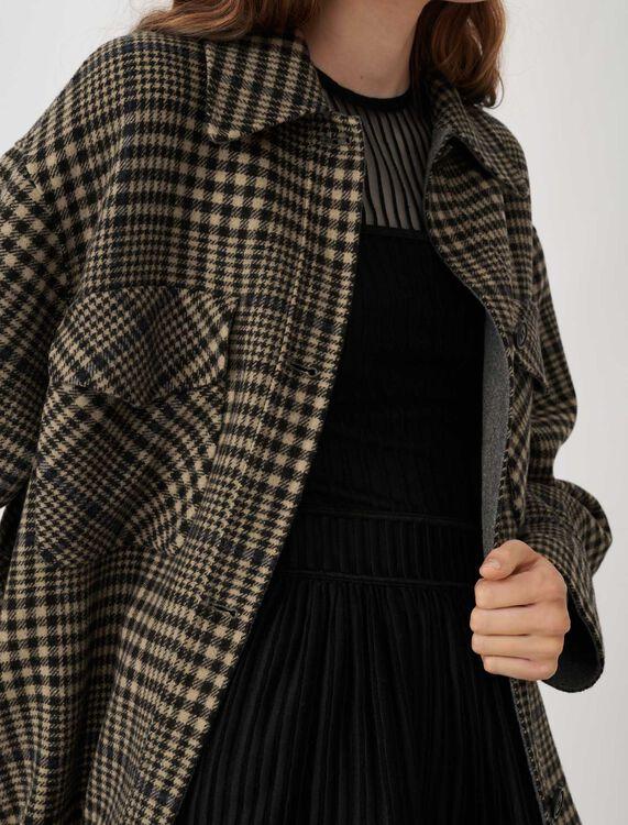 Belted check print coat : Coats & Jackets color Camel