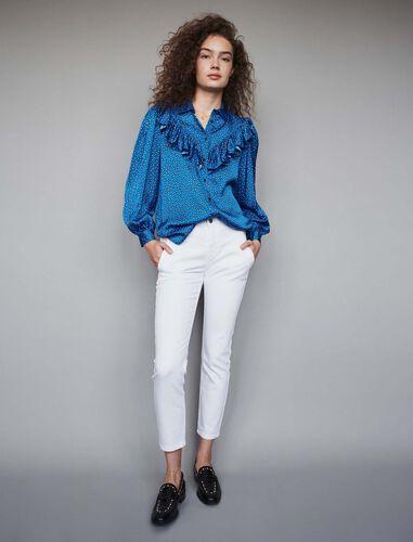 Printed silk ruffled shirt : Shirts color Blue
