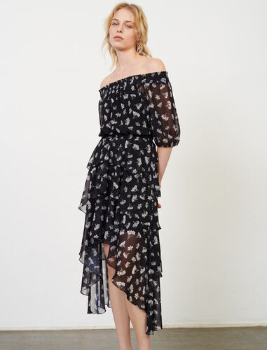 Asymmetric dress in printed muslin : Dresses color Black/White