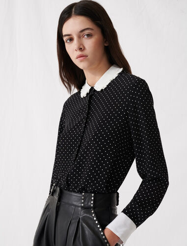 Polka dot shirt with contrasting collar : Shirts color Black / White
