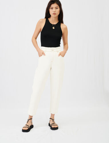 Wide jeans with elasticated waistband : Jeans color Ecru