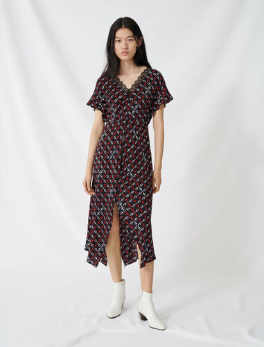 Crêpe maxi dress with scarf print : Dresses color Black/Red