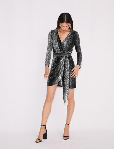 Bicolour sequin dress : Dresses color Black/Glitter