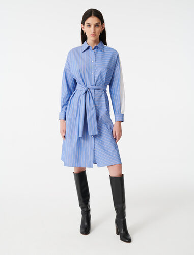 Shirt dress with printed stripes : Dresses color Light Blue
