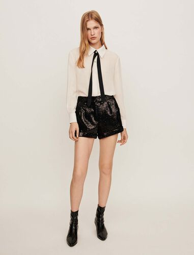 Sequin shorts : Shorts color Black