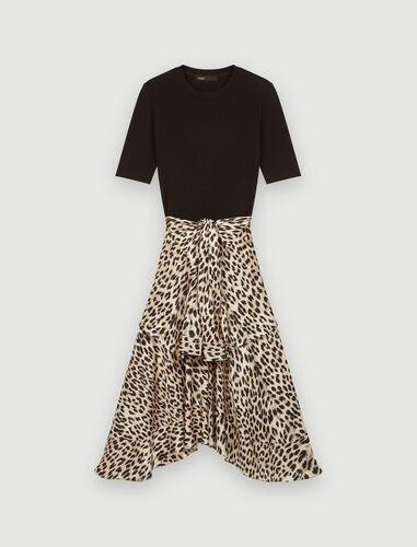 Trompe l'œil jersey & satin print dress : Dresses color Natural leopard
