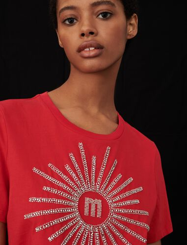 T-shirt with rhinestones and beads : null color Red