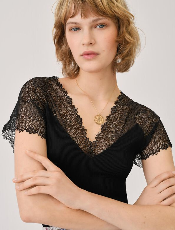 Jersey top with lace trim : Tops color Black