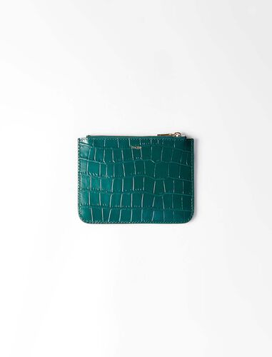 Zipped embossed-leather pouch : Wallet and leather color Green