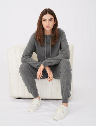Cashmere jogger-style trousers : Trousers color Grey