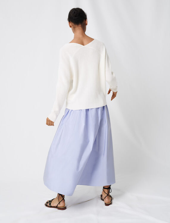 V-neck cashmere sweater : Sweaters color Ecru