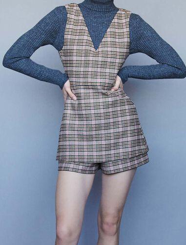 Plaid playsuit : Trousers color Beige
