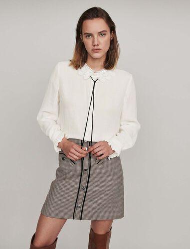 Guipure collar shirt and velvet link : Shirts color Ecru