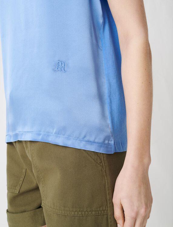Material mix cotton and silk T-shirt : T-shirts color Khaki