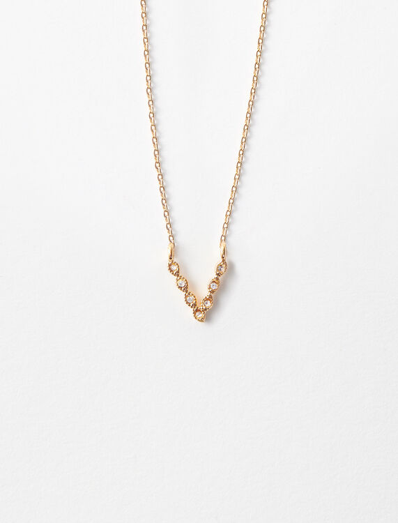 Rhinestone V necklace : Jewelry color Gold