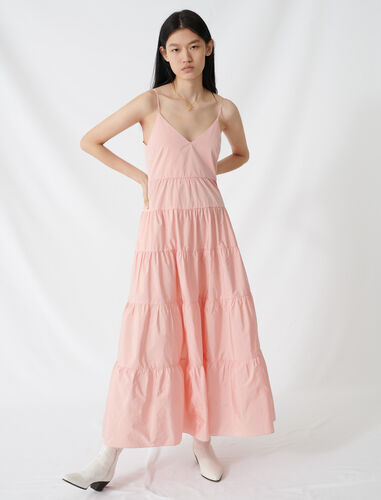 Taffeta maxi dress with thin straps : Dresses color Pale Pink