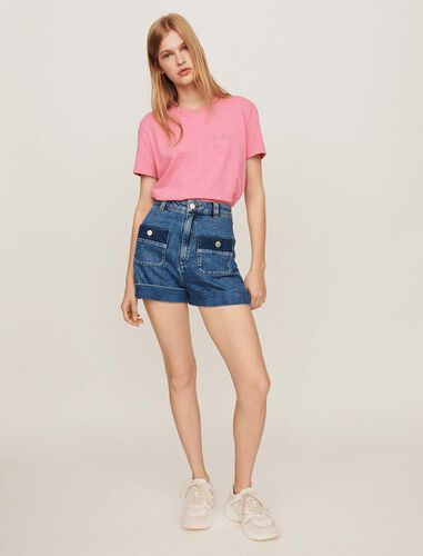 Wide jean shorts with pockets : Shorts color Blue