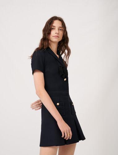 学院风领结连衣裙 : 连衣裙 顏色 深蓝色/NAVY